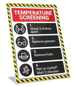 A4 'Temperature-Screening' Instruction Card in Perspex Stand