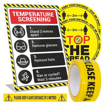 A4 Fever Screening Stand, 2x Floor Stickers & 33m Safe Distance Tape Roll