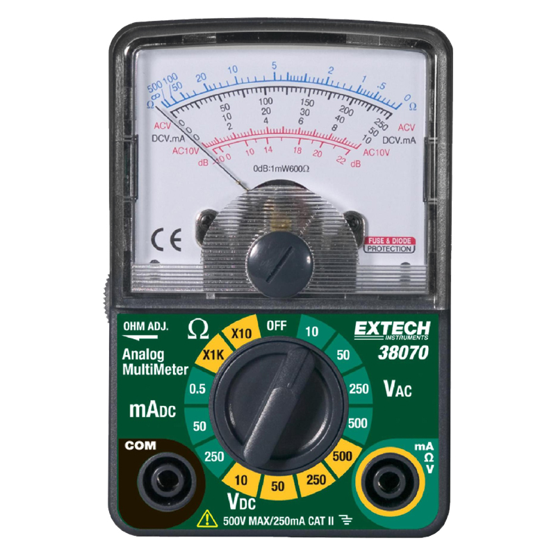 Multifunction Meter Front View : New extech compact analog multimeter ac dc voltage