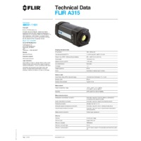 FLIR A315 Thermal Camera - Technical Data